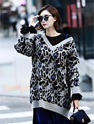 Damen Standard Pullover-Lässig/Alltäglich Einfach Leopard Grau V-Ausschnitt Langarm Acryl Herbst Winter Mittel Mikro-elastisch