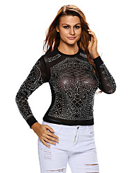 Women's Iridescent Stones Long Sleeves Top