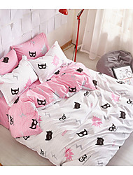 Novelty Duvet Cover Sets 4 Piece Cotton Pattern Reactive Print Cotton Full 1pc Duvet Cover 2pcs Shams 1pc Flat Sheet