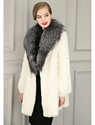 Women's Casual/Daily Street chic Fur Coat,Solid Shirt Collar Long Sleeve Winter White Black Faux Fur Medium