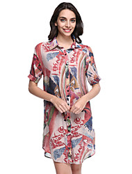 Women's Casual/Daily / Plus Size Street chic Chiffon Dress,Print Shirt Collar Above Knee ½ Length Sleeve Pink Polyester Summer