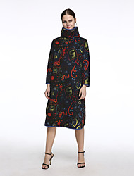 Women's Casual /Chinoiserie Quilted Loose Dress,Print Turtleneck Knee-length Blue Cotton /Linen Spring /Fall /Winter