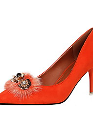 Women's Heels Fall Comfort Microfibre Dress Stiletto Heel Feather Black Pink Red Gray Orange Khaki