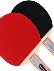 Tischtennis-Schläger Ping Pang Holz Kurzer Griff Pickel 2 Schläger 3 Tischtennisbälle Drinnen-#