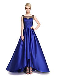 A-Line Jewel Neck Asymmetrical Satin Bridesmaid Dress with Bow(s) Sash / Ribbon Pleats by LAN TING BRIDE®