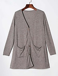 Veste Aux femmes,Couleur Pleine Décontracté / Quotidien simple Printemps / Automne Manches Longues Col en V Gris Polyester Moyen