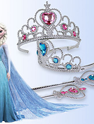 Girls Dress Up Toy Ice Colors Crown Princess Magic Wand Elsa Two-piece Head Hoop Headdress Random Color