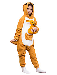 Kigurumi Pajamas Kangaroo Leotard/Onesie Festival/Holiday Animal Sleepwear Halloween Orange Solid Polar Fleece For KidHalloween Christmas