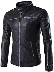 Men's Plus Size Casual/Daily Punk & Gothic Leather Jackets,Solid Stand Long Sleeve Fall Winter Black PU Polyester Medium