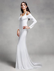 LAN TING BRIDE Trumpet / Mermaid Wedding Dress Simply Sublime Court Train Straps Knit with Draped