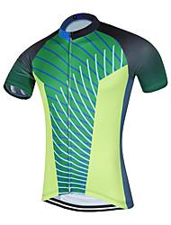 Esportivo Camisa para Ciclismo Homens Manga Curta MotoRespirável Secagem Rápida Design Anatômico Zíper Frontal Bolso Traseiro Redutor de