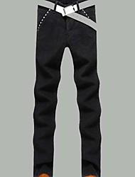 Masculino Solto Chinos Calças-Cor Única Casual Simples Cintura Média Zíper Algodão Micro-Elástico Outono Inverno