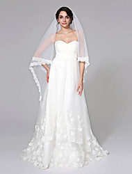 Wedding Veil One-tier Chapel Veils Lace Applique Edge Net