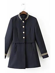 Damen Solide Einfach / Street Schick Ausgehen / Lässig/Alltäglich Jacke,Herbst / Winter Rundhalsausschnitt Langarm Blau MittelPolyester /