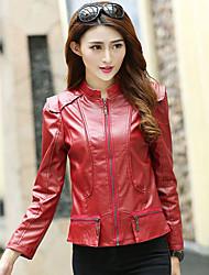 Feminino Jaquetas de Couro Casual Festa/Coquetel Bandagem Moda de Rua Primavera Outono, Sólido Vermelho Preto Poliuretano Colarinho Chinês