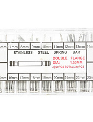 360pcs Stainless Steel Spring Bars 1.50mm Diameter Double Flange 6mm to 23mm