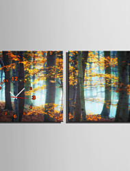 E-HOME® Late Autumn Woods Clock in Canvas 2pcs