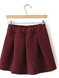 Damen Röcke,A-Linie einfarbigAusgehen Lässig/Alltäglich Vintage Einfach Street Schick Hohe Hüfthöhe Mini Elastizität Baumwolle