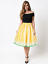 Women's A Line Polka Dot Pleated Skirts,Beach Sexy High Rise Midi Elasticity Polyester Micro-elastic Summer