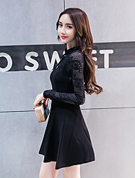 signer de nouveaux amélioré style cheongsam dentelle maille ajourée crochet col à manches longues robe de taille femmes