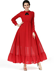 The new red dress literary retro high waist was thin long-sleeved A-line dress