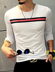 Men's Korean Slim Ribbon Long Sleeved T-Shirt Patchwork Round Neck Long Sleeve White Black Cotton Polyester Thin