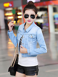 Women's Blue Denim Jacket , Casual/Cute Long Sleeve