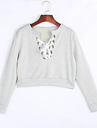 Women's Light Grey Criss Cross Cropped Sweater