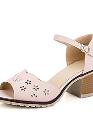 Feminino-Sandálias-Sapatos com Bolsa Combinando-Salto Grosso-Rosa Cinza Amêndoa-Courino-Escritório & Trabalho Social Casual