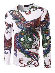 Herren Druck Einfach Ausgehen Lässig/Alltäglich T-shirt,Rundhalsausschnitt Herbst Langarm Weiß Modal Mittel