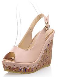 Damen-Sandalen-Büro Kleid Lässig-Kunstleder-Keilabsatz-Passende Schuhe & Taschen-Blau Rosa Weiß