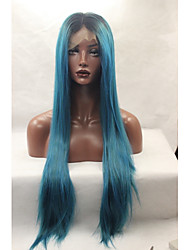 Synthetic Lace Front Wigs Black Roots Dark Blue Hair Ombre Silky Straight Synthetic Wigs