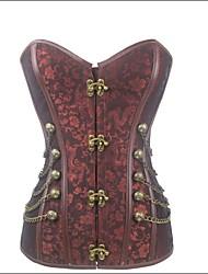 Women Overbust Corset Nightwear Cotton / Nylon / Polyester / Spandex / Modal Brown Women's