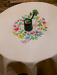Patterned Table Cloth  Linen Material Table Decoration 1pc/set Colorful Wreath Feature 3 Size