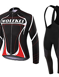 WOLFKEI Winter Thermal fleece Long Sleeve Cycling Jersey Long Bib Tights Ropa Ciclismo Cycling Clothing Suits #WK103