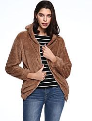 Women's Casual/Daily Simple Fur Coat,Solid Hooded Long Sleeve Fall Winter Black Brown Wool
