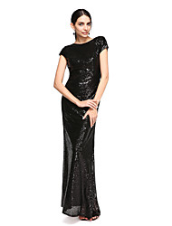 Floor-length Sequined Bridesmaid Dress - Sheath / Column Scoop with Sequins