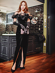 Moulante / Gaine / Noir Robe Femme Habillées / Soirée / Cocktail / Soirée Sexy / Vintage / Sophistiqué,Couleur Pleine / MosaïqueA