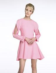Women's Simple Solid Chiffon Dress , Round Neck Mini Polyester