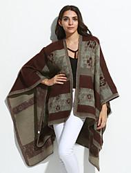 Women's Going out /Cloak / CapesJacquard Black / Brown / Gray / Green / Purple Asymmetrical Long Sleeve