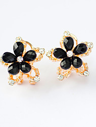 Earring Rhinestone Stud Earrings Jewelry Women Wedding / Party / Casual Alloy / Acrylic / Rhinestone 1 pair Black / Pink