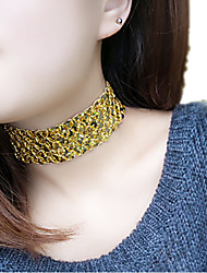 Women's Choker Necklaces Statement Necklaces Jewelry Acrylic Geometric Fashion Statement Jewelry Black Silver Golden JewelryParty