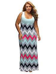 Women's Plus Size Light Blue Top Multicolor Zigzag Maxi Dress