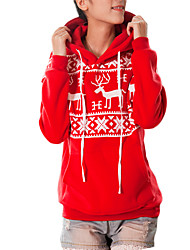 Women's Casual/Daily Sports Active Simple Hoodie Print Oversized Round Neck Fleece Lining Micro-elastic Polyester Long Sleeve Fall Winter