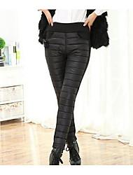 Feminino Simples Cintura Alta Micro-Elástico Chinos Calças,Reto Cor Única