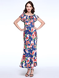 Women's Going out Vintage Slim Backless Sheath Dress,Floral Boat Neck Maxi Sleeveless