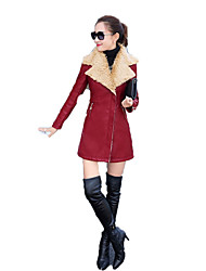 Women's Casual/Daily Punk & Gothic Coat,Solid Long Sleeve Winter Blue / Red / Black / Brown Special Leather Types Thick