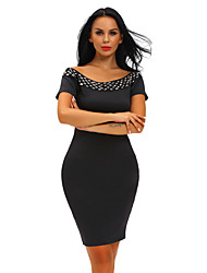 Women's Studded Off Shoulder Black Short Sleeve Bodycon Dress