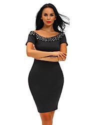 Women's Off The Shoulder Studded Off Shoulder Black Short Sleeve Bodycon Dress