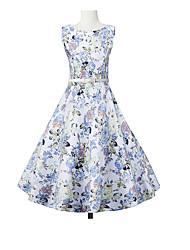 Gaine Robe Femme Décontracté / Quotidien Vintage,Fleur Col Arrondi Mi-long Sans Manches Bleu Coton Toutes les Saisons Taille Haute